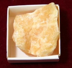 Yellow Calcite (displayed in 5cm x 5cm box).